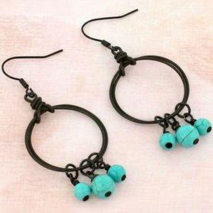 Dark Brass/Faux Turquoise Hoop Earrings